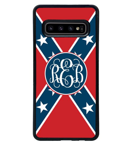 Rebel Flag Confederate Monogrammed Samsung Galaxy Case - Personalized s10 s10e plus s9 s8 s7 edge s6