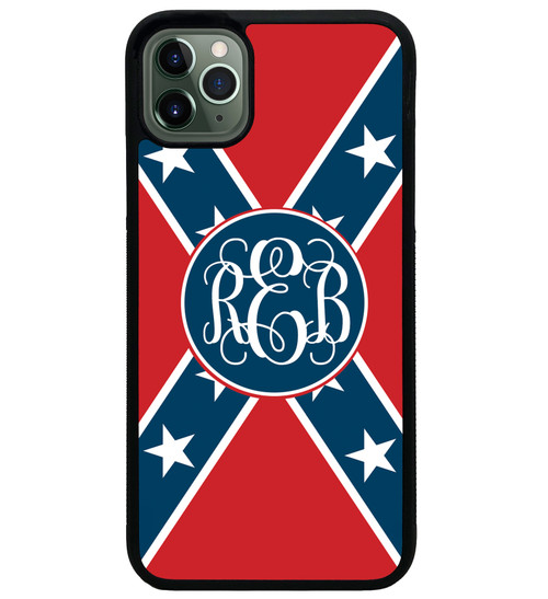 Rebel Flag iPhone Case Monogrammed - Confederate Flag Personalized 11 pro max xr xs max 7 8 6 6s plus
