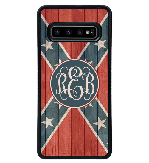 Confederate Flag Samsung Galaxy Case Distressed Wood Monogrammed - Rebel Flag - Stars and Bars s10 s10e plus s9 s8 s7 edge s6