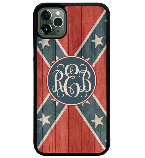 Rebel Flag iPhone Case Monogrammed Distressed Wood - Confederate Flag Personalized 11 pro max xr xs max 8 7 6 plus 6s
