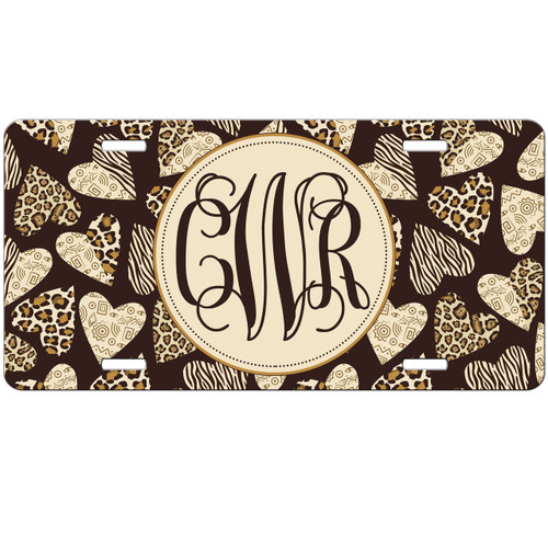 Monogrammed Car Tag - Animal Print Leopard Cheetah Zebra Hearts