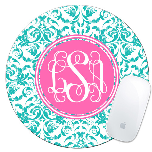 Monogrammed Mouse Pad Damask
