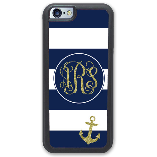 iPhone Case - Navy Stripes Anchor Nautical Gold Glitter - SimplyCustomized.com