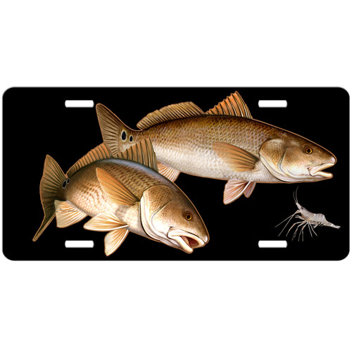 Redfish License Plate, Fishing Gifts for Men, Fisherman Gift, Black