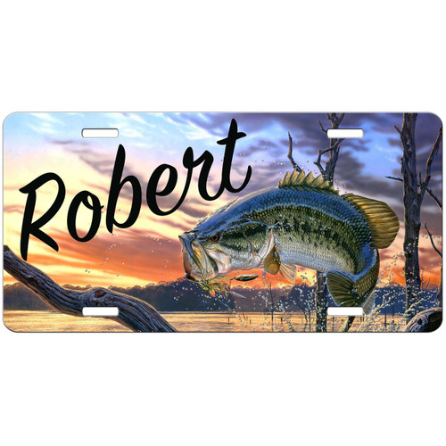 Bass License Plate, Fishing Gifts for Men, Fisherman Gift, Personalized Fishing Gifts
