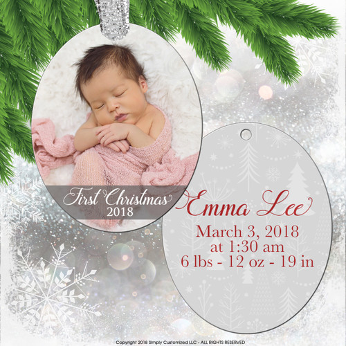 Personalized Ornament - Photo Ornament - Baby's First Ornament - Oval Aluminum