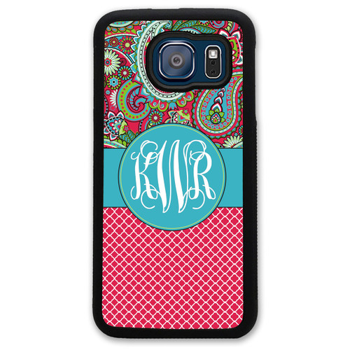 Monogrammed Samsung Case - Red Paisley