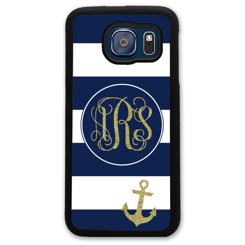 Monogrammed Samsung Case - Navy Stripes Anchor