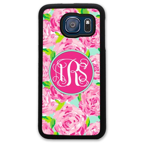 Monogrammed Samsung Case - Pink Roses