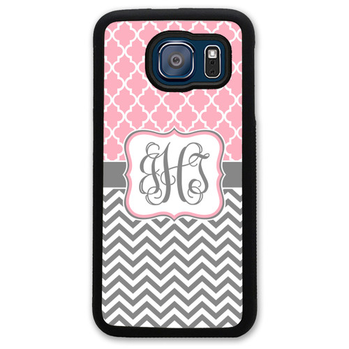 Monogrammed Samsung Case - Pink Lattice Grey Chevrons