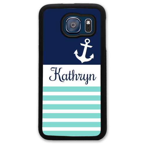 Monogrammed Samsung Case - Teal Stripes Navy Anchor