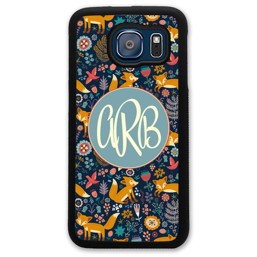 Monogrammed Samsung Case - Fox Woods Forest Cute