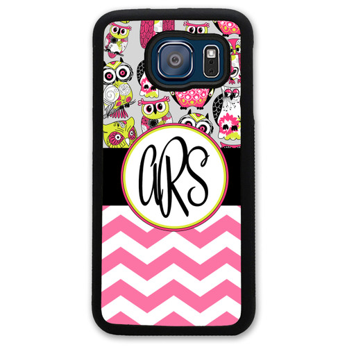 Monogrammed Samsung Case - Pink Owls and Chevrons
