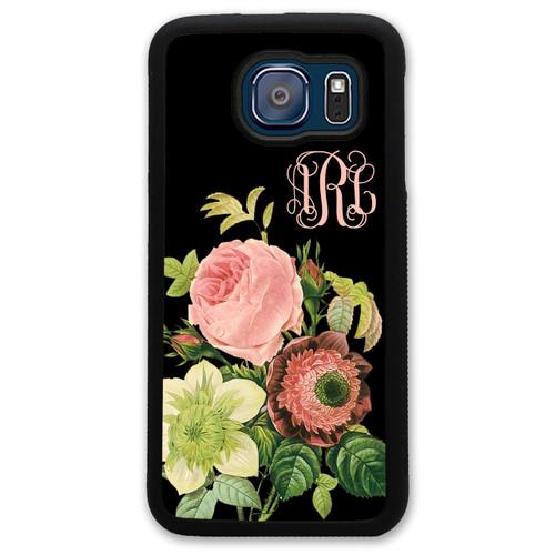 Monogrammed Samsung Case - Black Floral Flowers Roses