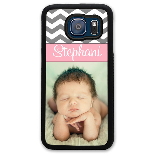 Monogrammed Photo Samsung Case - Picture Samsung Case - Chevron