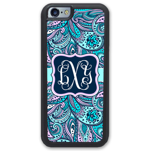 Blue Pink Paisley iPhone Case Monogrammed