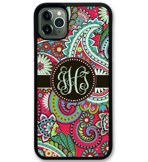 iPhone Case -Red Paisley Monogrammed