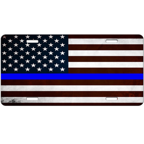 Thin Blue Line Distressed American Flag License Plate - Car Tag Vanity Plate Thin Blue Line Police Support