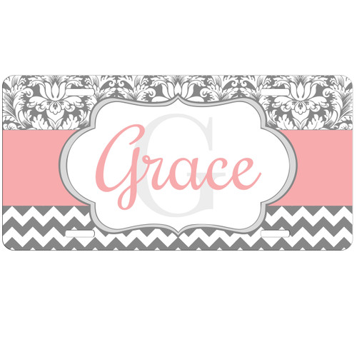 Pink Silver Damask Chevron Monogram License Plate