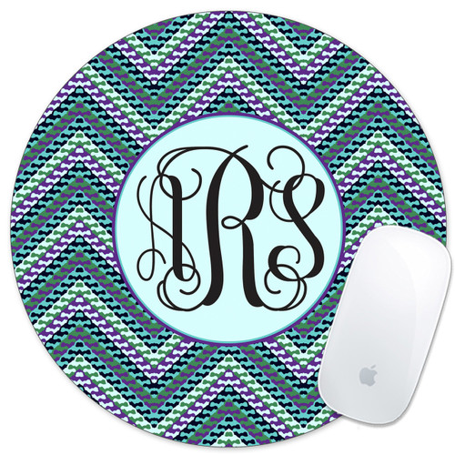 Monogrammed Mouse Pad Hipster Chevrons Teal