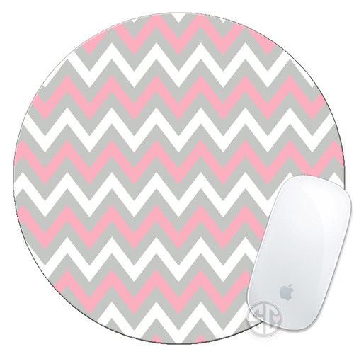 Mouse Pad Pink Grey Chevrons Mousepad
