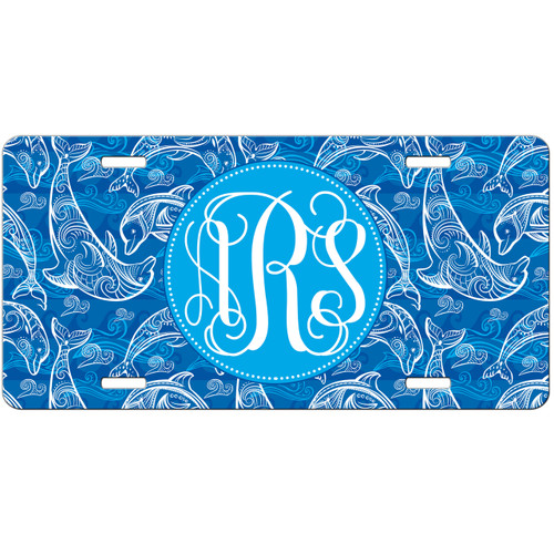 dolphin car tag, dolphin license plate, dolphins car tag, monogrammed dolphins car tag