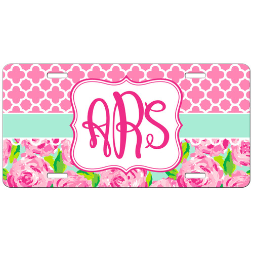 Monogrammed Car Tag Pink Roses Lattice License Plate