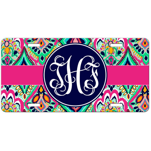 Monogrammed Car Tag Floral Jewels Hot Pink Navy License Plate