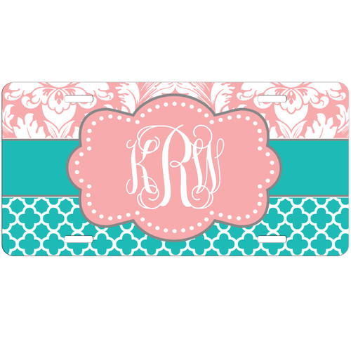 Monogrammed Car Tag Teal Lattice Pink Damask License Plate