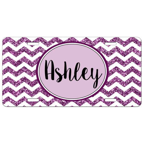 Monogrammed Car Tag Purple Chevrons Glitter