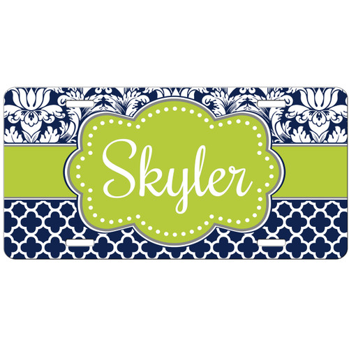 Monogrammed Car Tag Navy Damask Lattice Mint Green License Plate