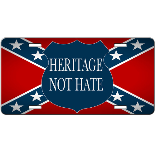 confederate rebel flag heritage not hate front license plate car tag