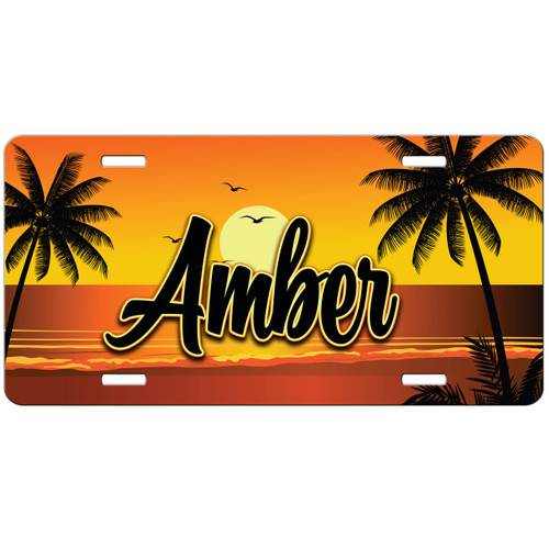 Monogrammed Car Tag - Sunset Beach Tropical Front License Plate