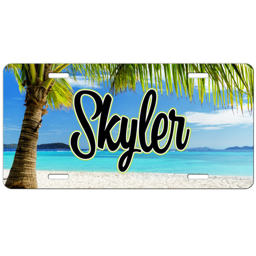 Monogrammed Car Tag - Beach Tropical Front License Plate