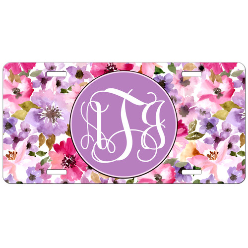 Monogrammed Car Tag - Pink Floral Front License Plate