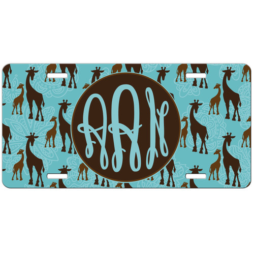 Monogrammed Car Tag - Giraffe Front License Plate