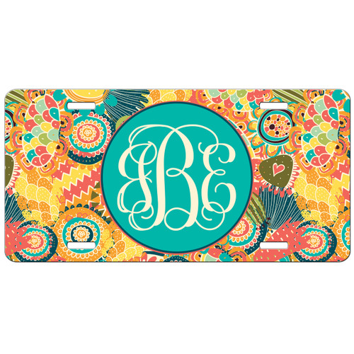 Monogrammed Car Tag - Yellow Floral Front License Plate