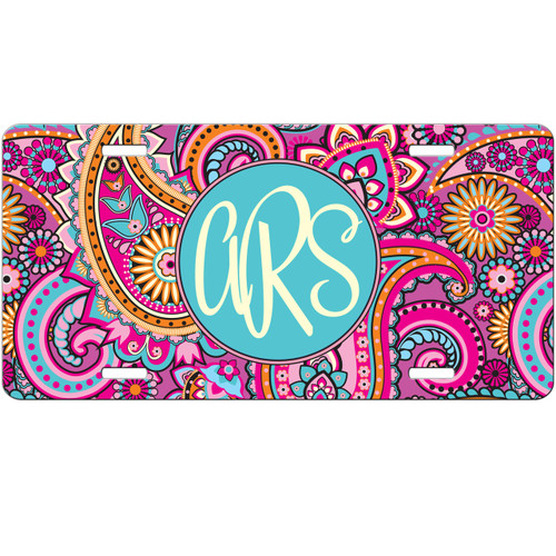 Monogrammed Car Tag - Pink Paisley License Plate Car Tag