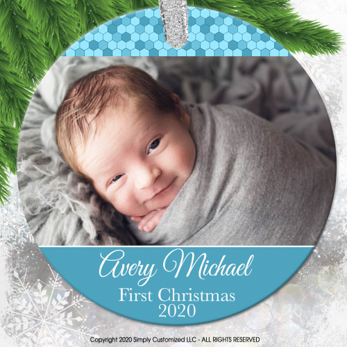 Baby's First Christmas Ornament Photo Picture - Blue Baby Boy Personalized