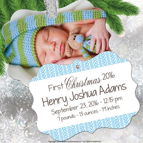 Keepsake Ornament Baby Boy - Photo Birth Stats - Blue Feet Footprints Pattern - Double Sided Aluminum