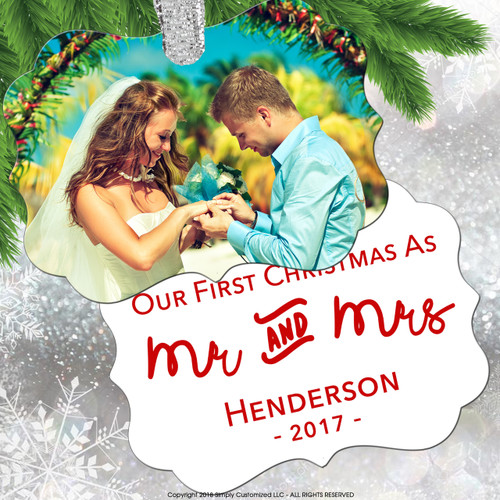 Our First Christmas - Couples First Christmas Keepsake Ornament Photo Picture - Double Sided Aluminum