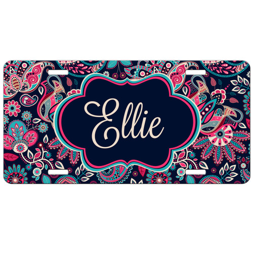 Pink Paisley Front License Plate, Custom License Plate, Personalized License Plate