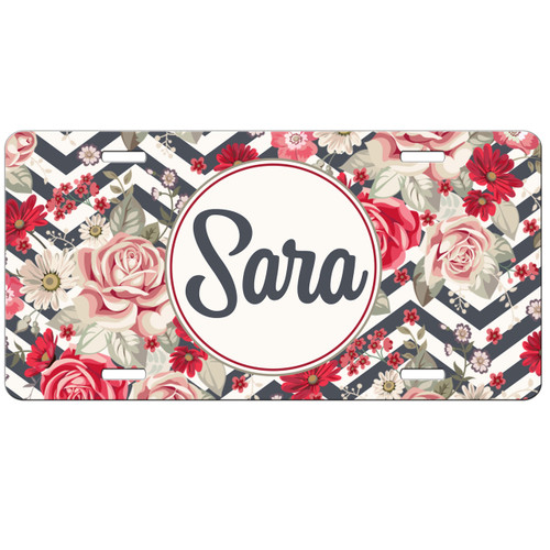 Floral Chevrons Front License Plate, Custom License Plate, Personalized License Plate