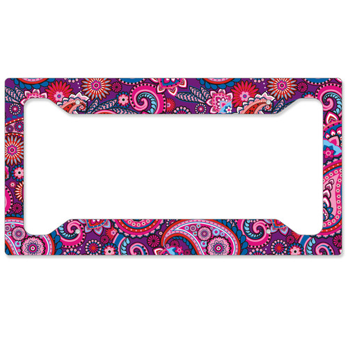 Auto License Plate Frame, Car Tag Frame, License Plate Cover, Purple Paisley