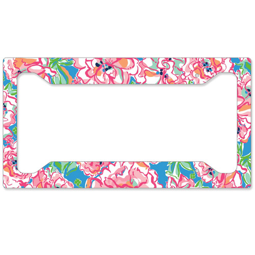 Auto License Plate Frame, Car Tag Frame, License Plate Cover, Flowers N Bees