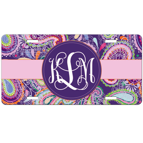 Purple Paisley Front License Plate, Custom License Plate, Personalized License Plate Car Tag