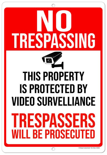 No Trespassing Red White Aluminum Indoor Outdoor Rust Free Aluminum