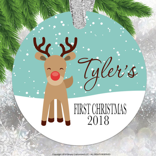 Baby's First Christmas Ornament - Cute Reindeer Double Sided Aluminum