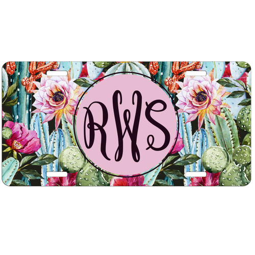 Floral Cactus License Plate, Custom License Plate, Personalized License Plate