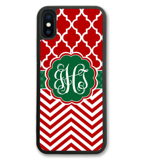 iPhone Case - Red Green Chevron Lattice Holiday Christmas